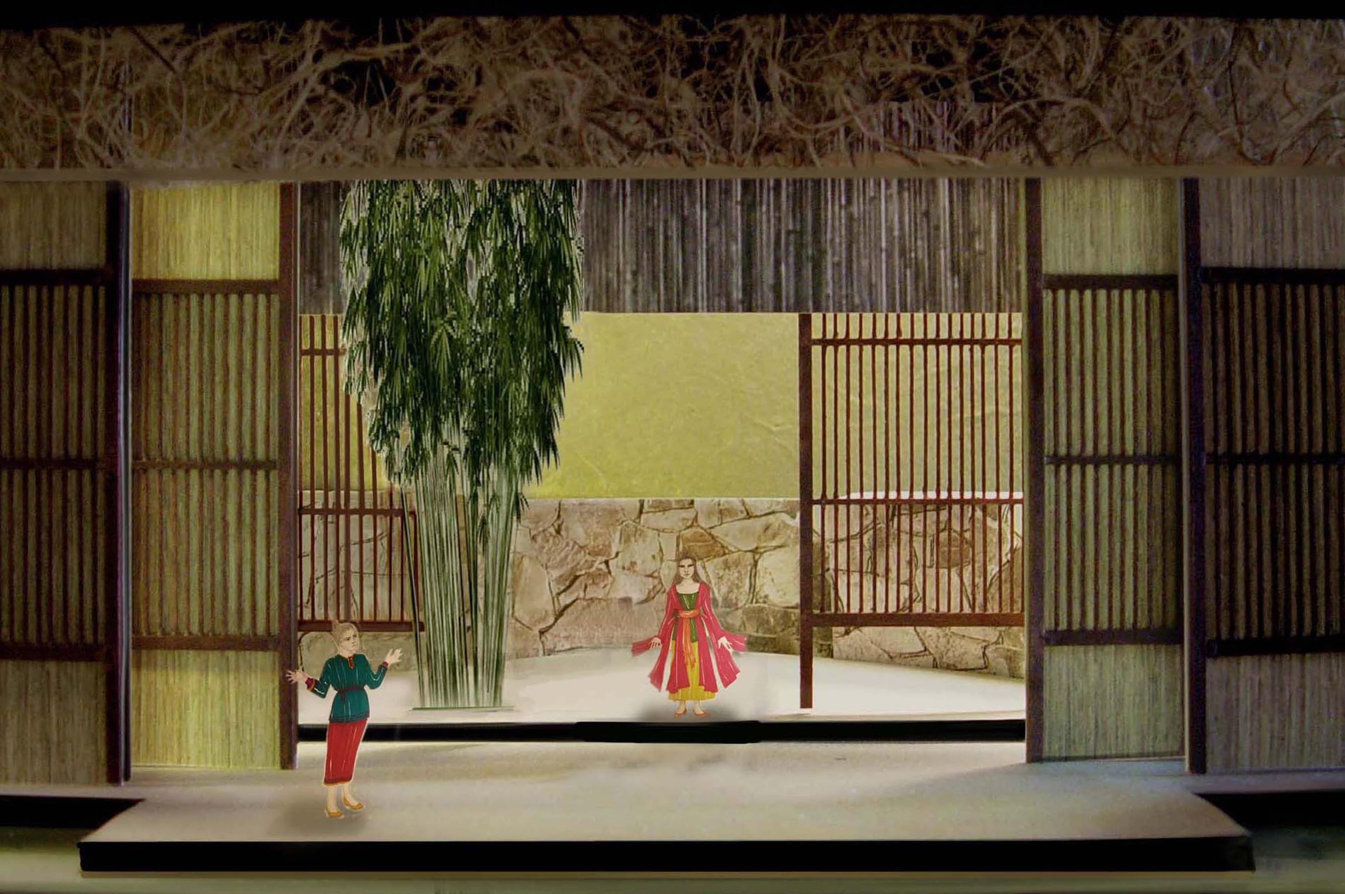 a paper design of an opera set
