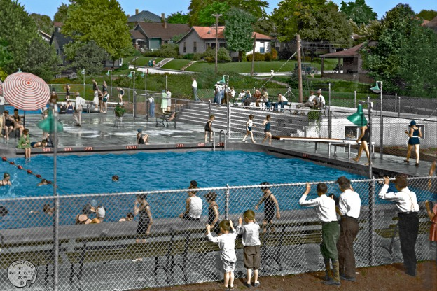 colorized photo of pool from 1930s