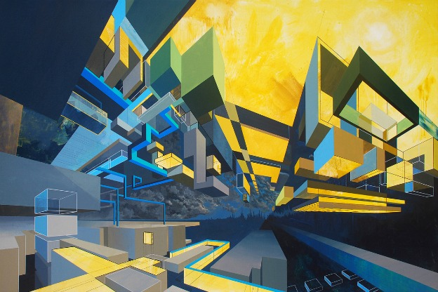 painting with blue and gold geometrical elements