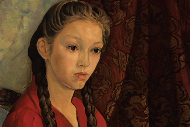detail of young girl in red dress