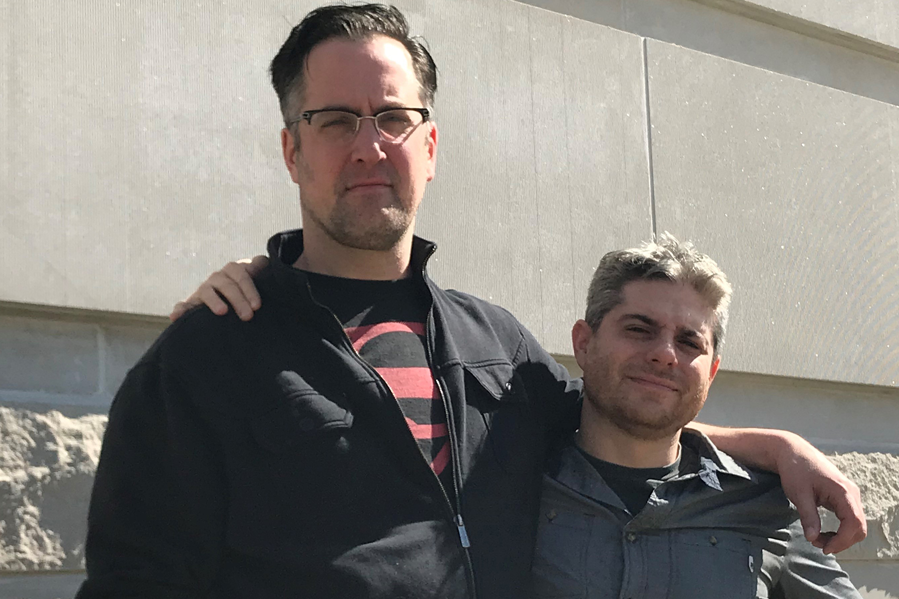 Actor Henry McDaniel, the tall one, with director Jesse Bernstein, the short one. (Rachel Glago)