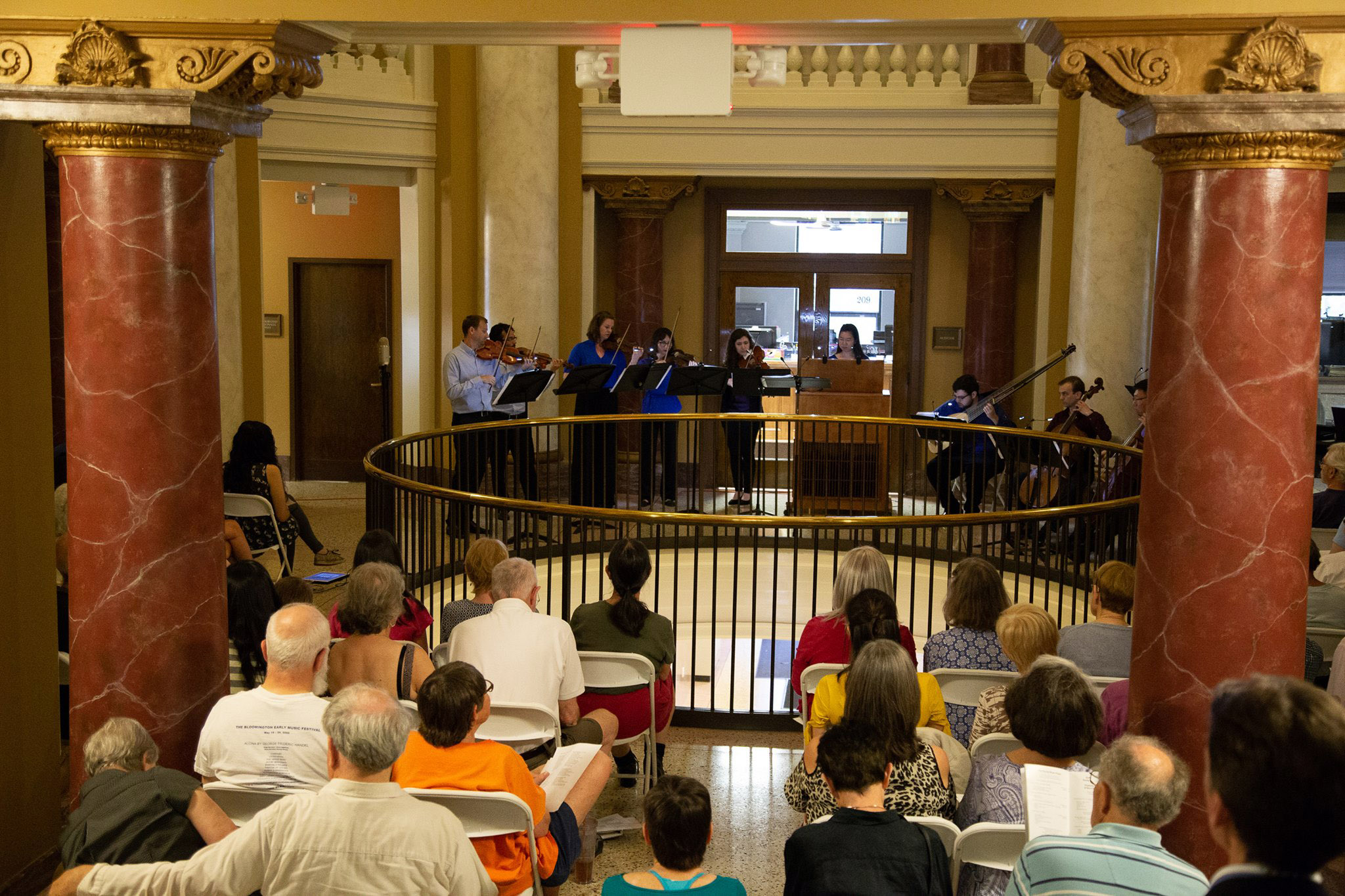 Members of the BLEMF Sacred Music Project perform at teh Bloomington Courthouse Rotunda (photo courtesy of BLEMF)