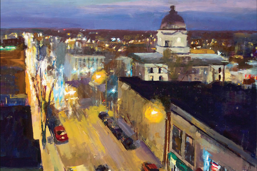 A Sense of Place cover illustration featuring downtown Bloomington
