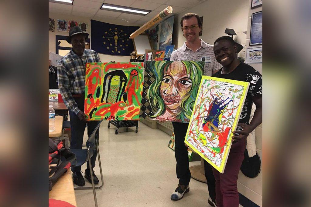 Haitian Artists show their work.
