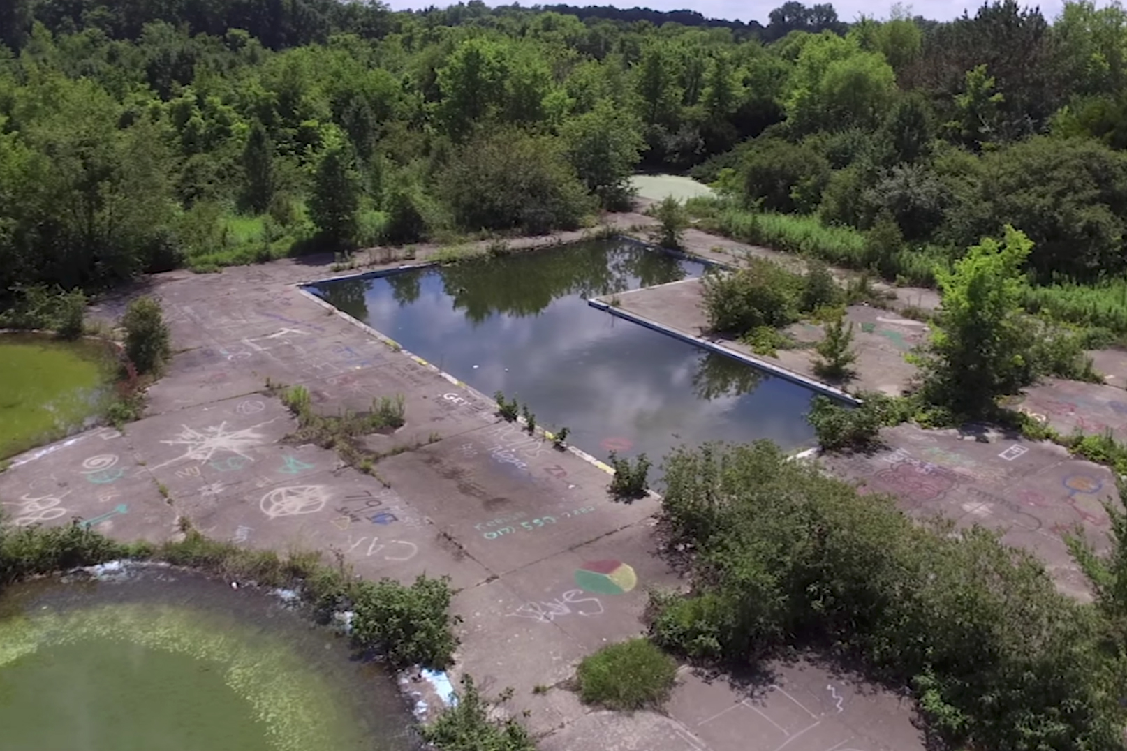 Thunder Island water park drone photo
