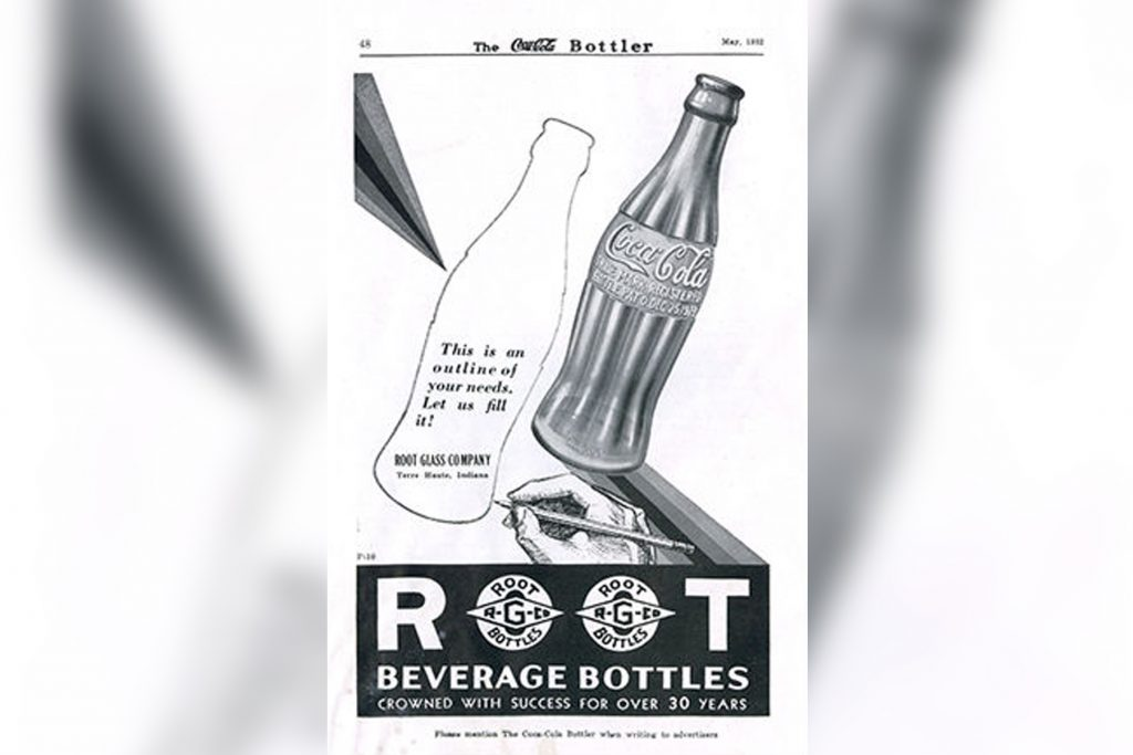 An old ad for the Root Glass Company with a Coca-Cola bottle pictured.