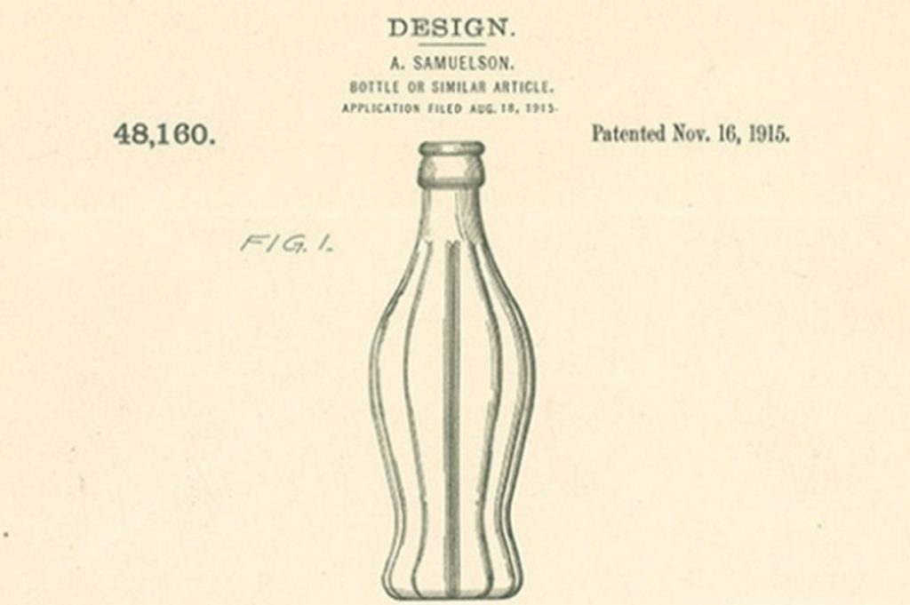 Design drawing of the Root Glass Co. Coca-Cola bottle.