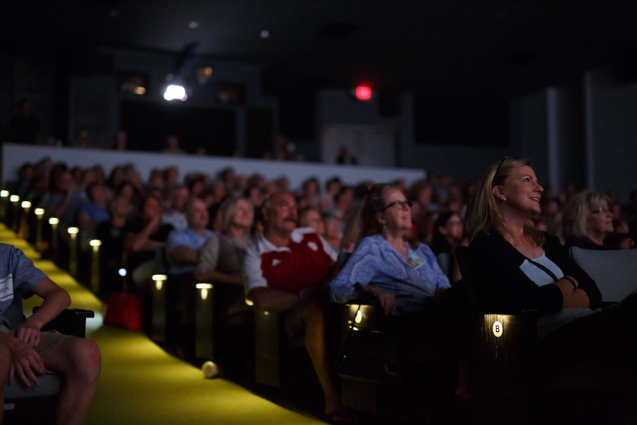 An audience enjoys a movie in a darkened theater.