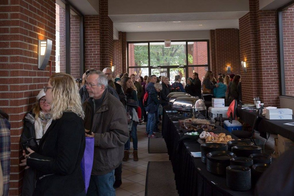 A photo from last year's Holiday Market, where the line stretched out the door of the Monroe County Convention Center.