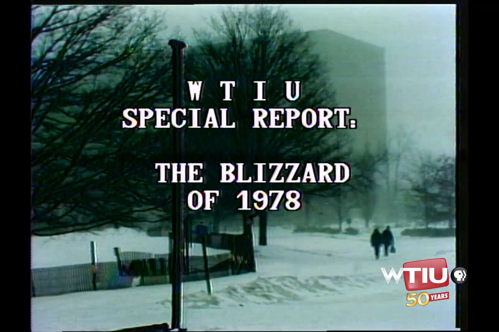 A snowy image of Indiana University's campus for WTIU's special report on the Blizzard of 1978.