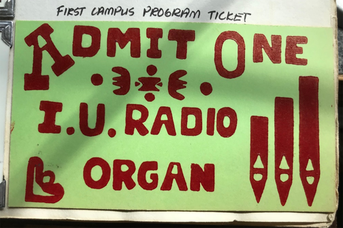 A paper ticket made for a performance of the Radio/TV Building's pipe organ.