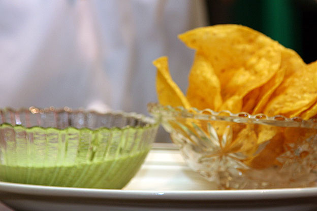 sweet pea guacamole and chips