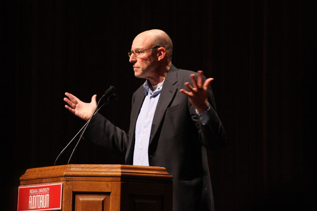 Michael Pollan on stage at the IU Auditorium