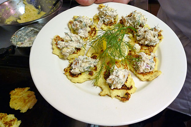 parsnip cakes with smoked trout salad