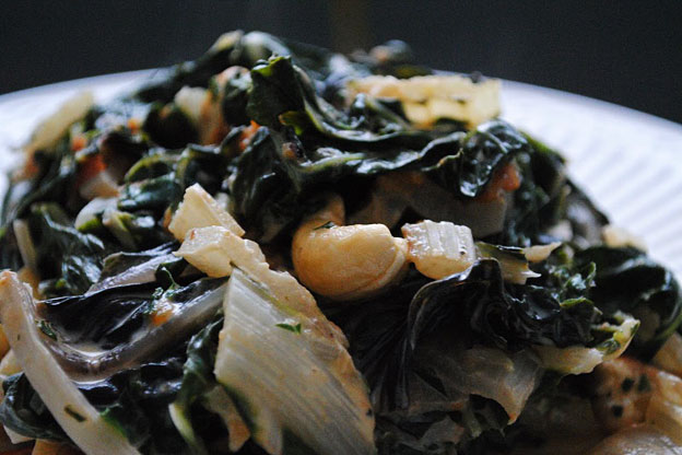 swiss chard with toasted cashews