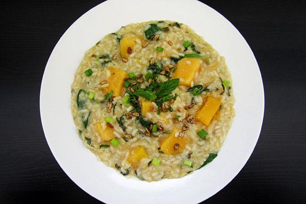 a bowl of pumpkin risotto