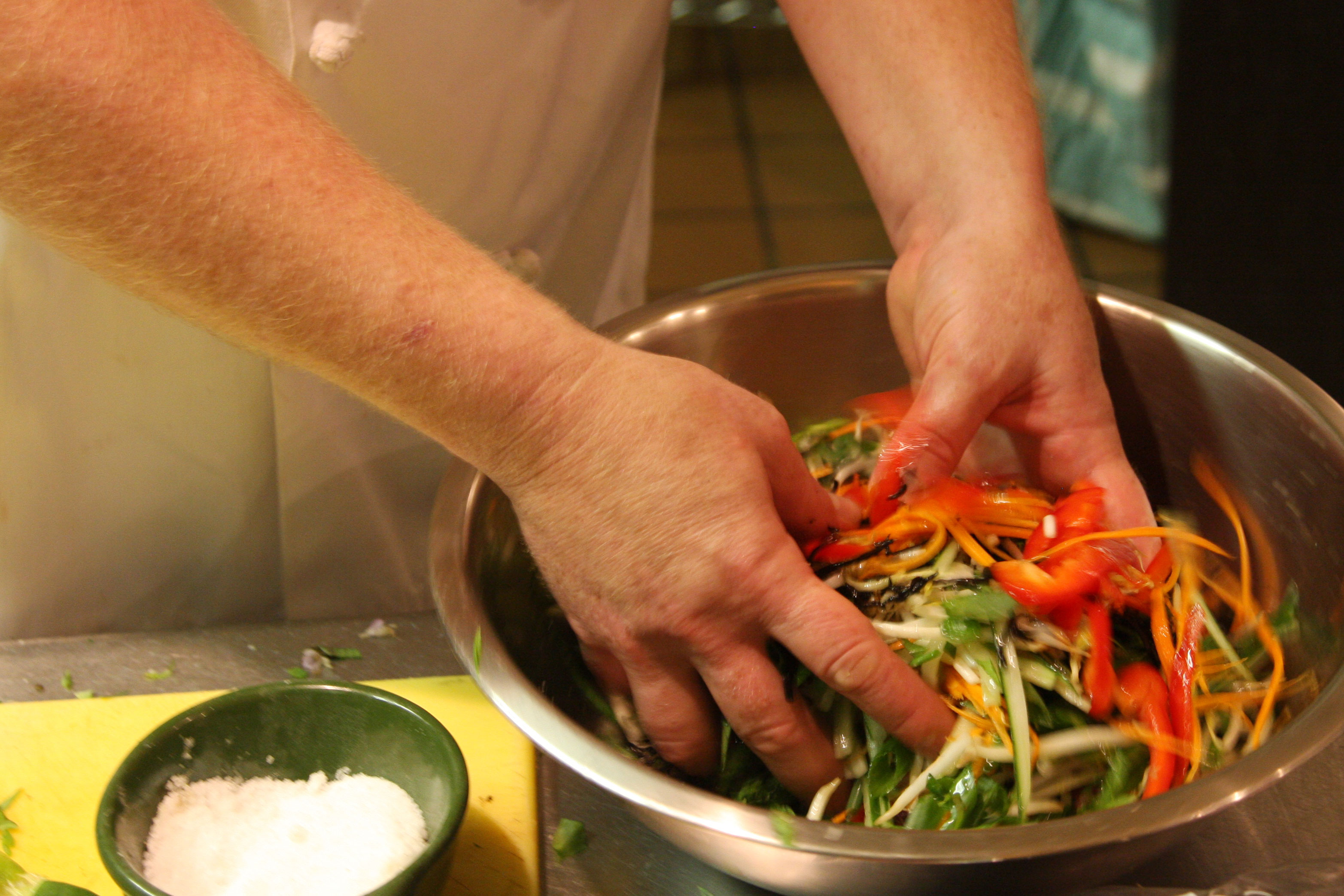 Mixing the Salad By Hand