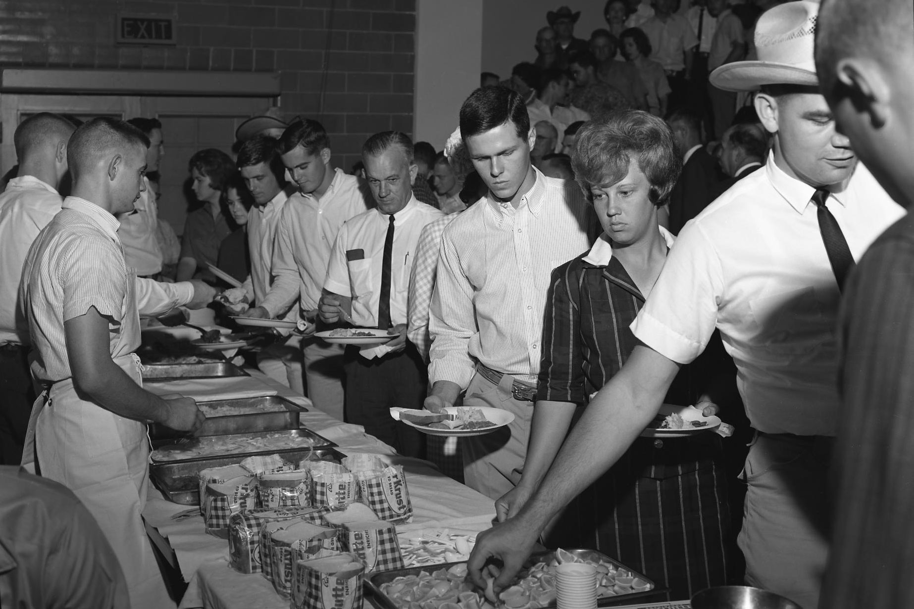 black and white photo of serving line
