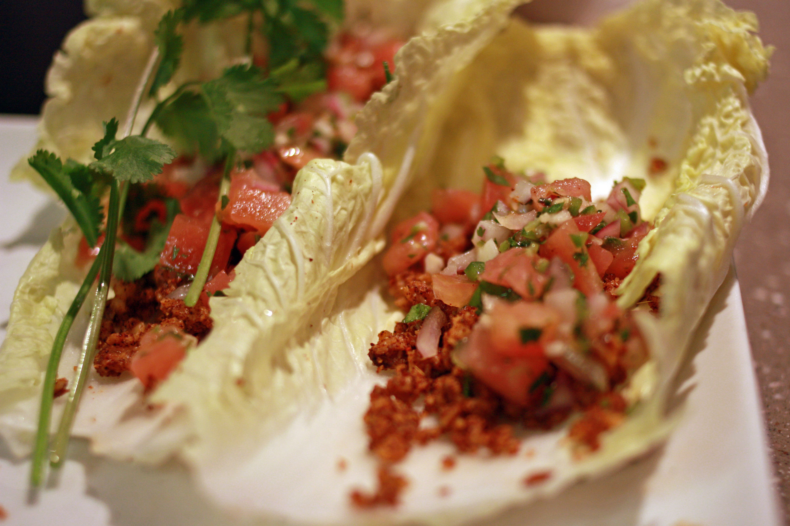 Raw Tacos With Walnuts On A Napa Cabbage Leaf
