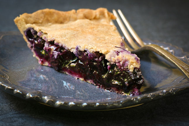 Blueberry Pie On Plate With Fork