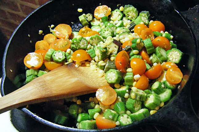 Corn, Tomatoes, and Okra (Summer Succotash)