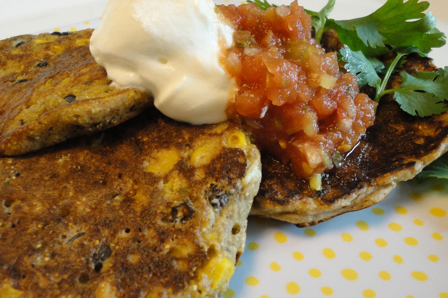 corncakes and salsa and crema