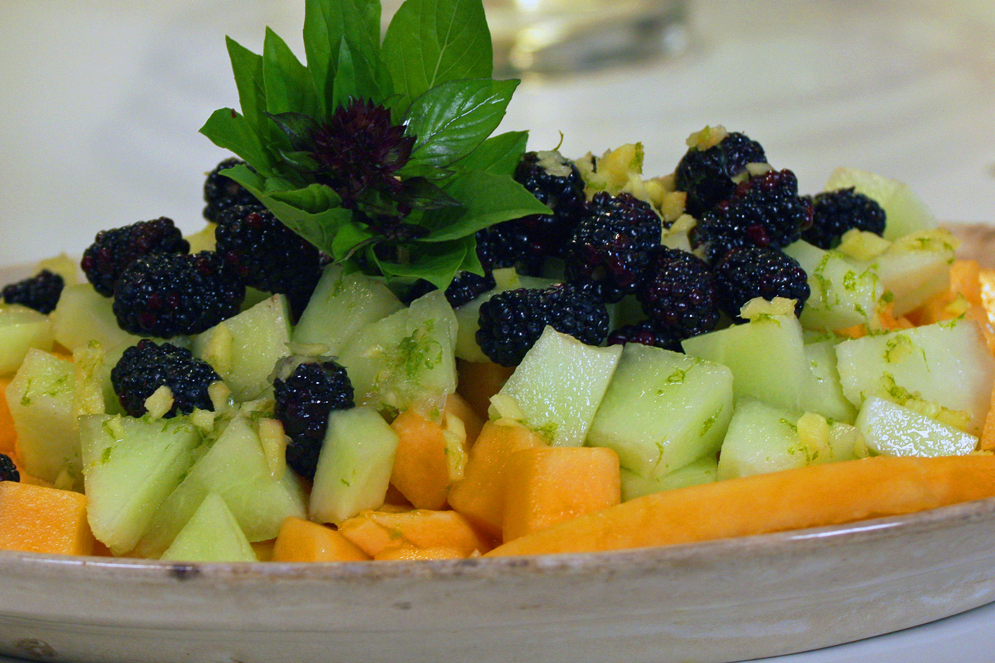 Melon Salad With Ginger Lime Syrup