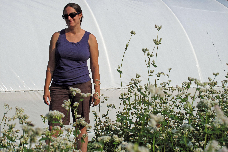 Stephanie Solomon in a field of buckwheat