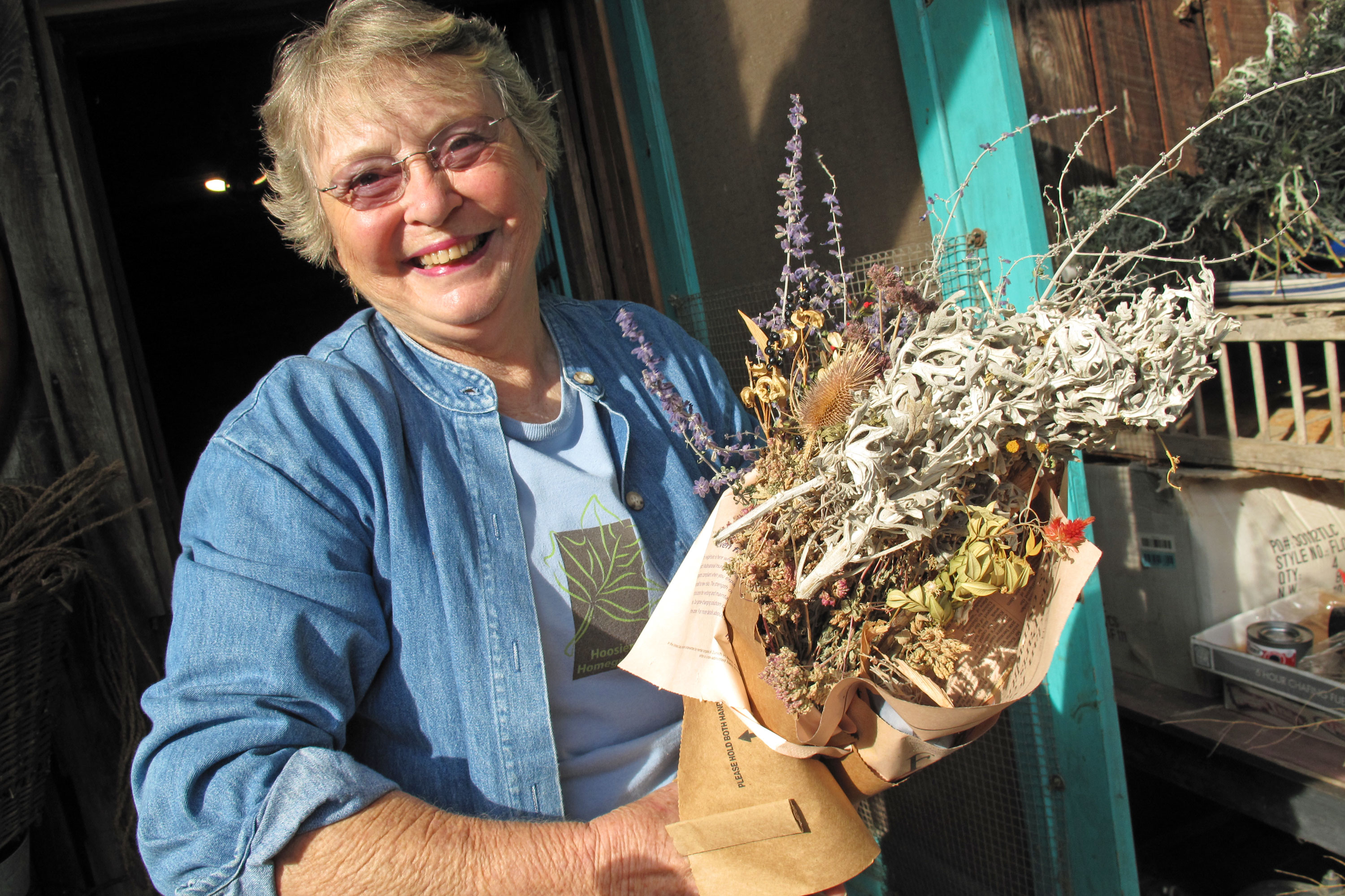 Mary Lu Orr and her fire-starting bouquet