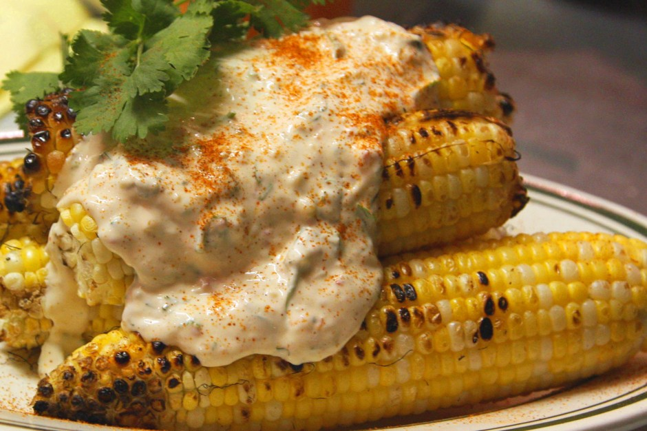 ears of corn with Mexican creme