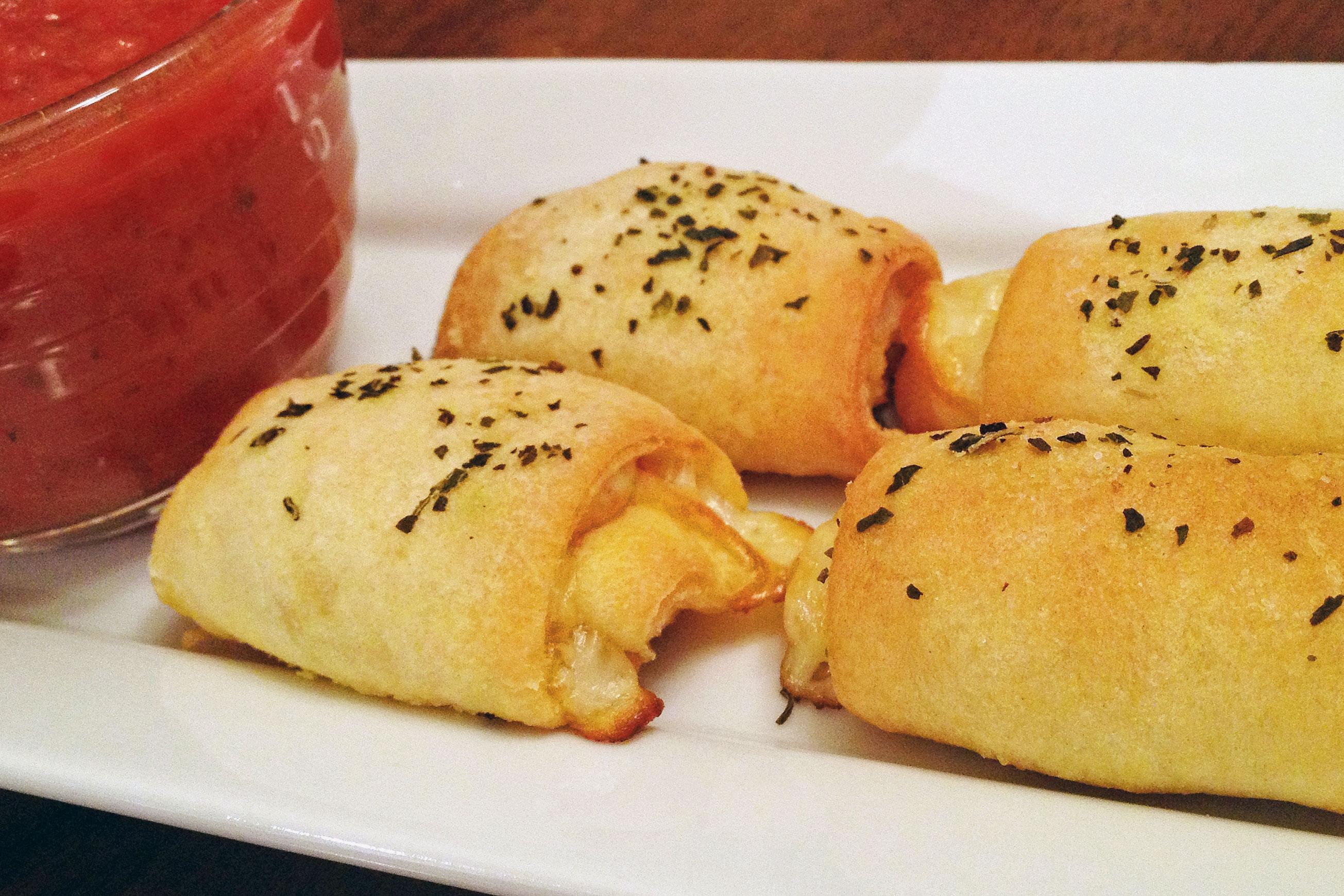 Pepperoni Rolls and marinara sauce