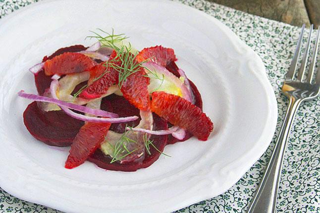 Beet, Fennel, and Blood Orange Salad in a Citrus Vinaigrette