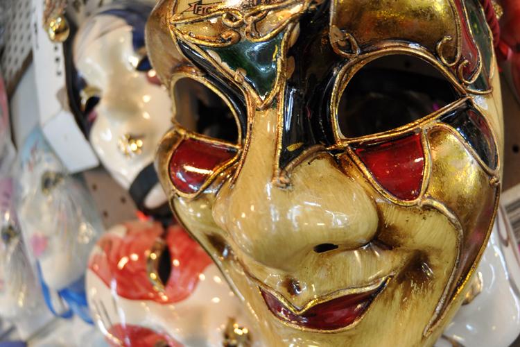 close-up macro Mardi Gras mask