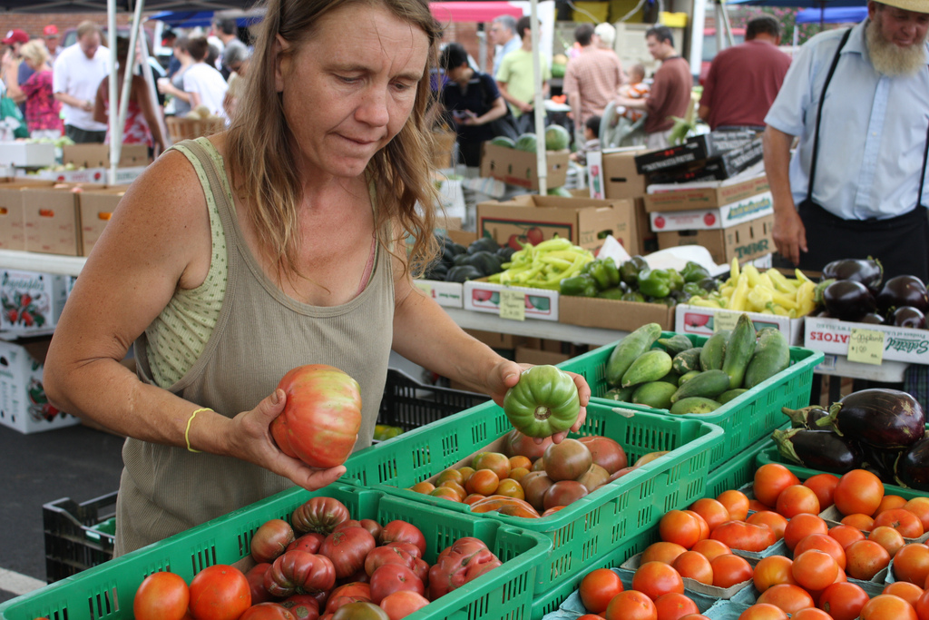 farmers market vendor sorts tomatoes