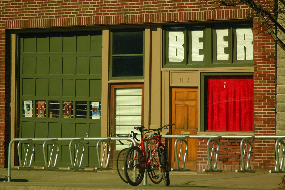 bicycle rack in front of brewery