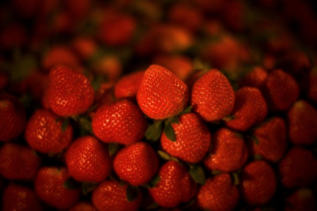 bokeh strawberries