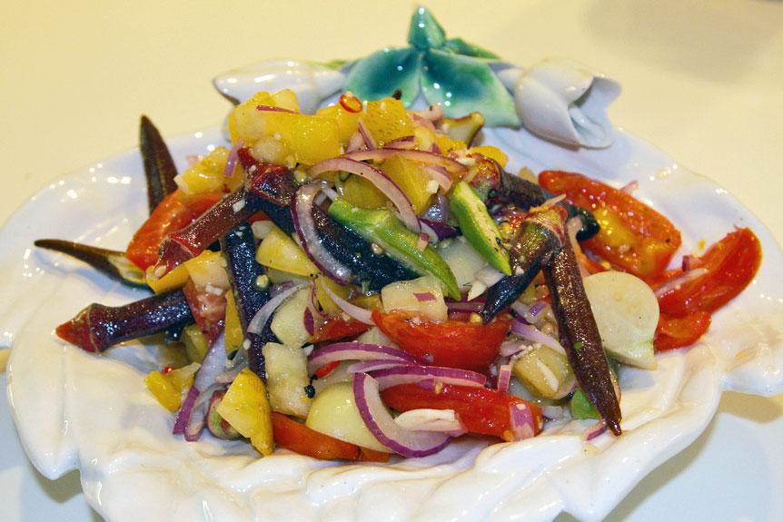 raw okra salad