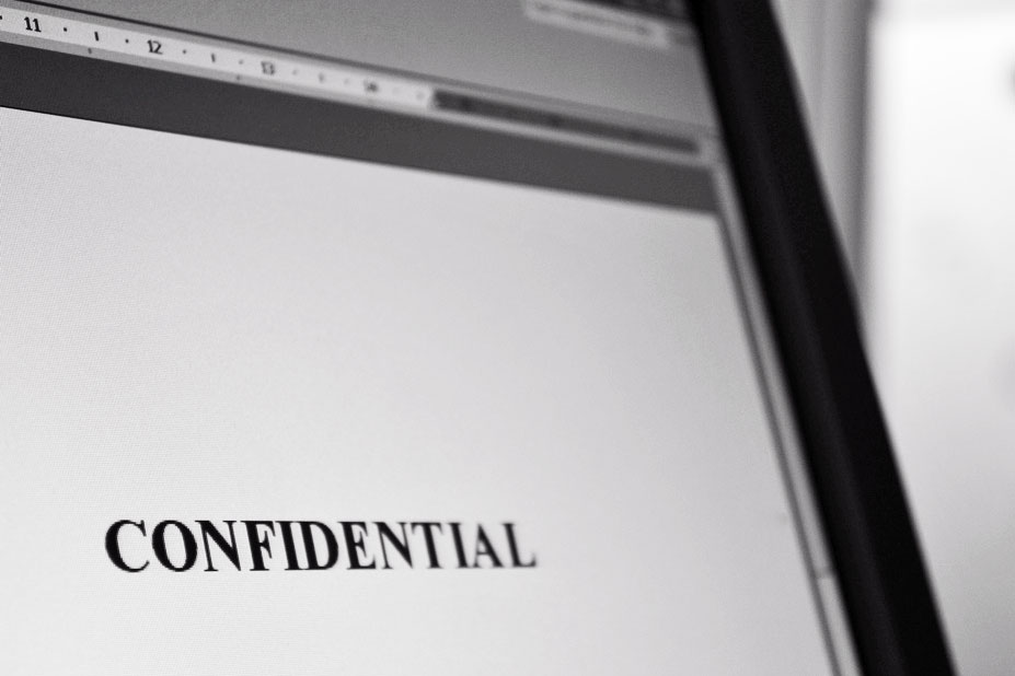 confidential on computer screen