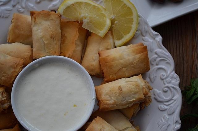 dip, lemons and appetizers