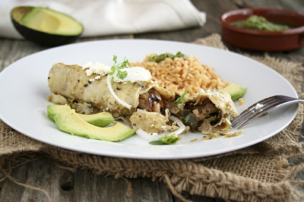 chicken enchiladas with rice and avocado