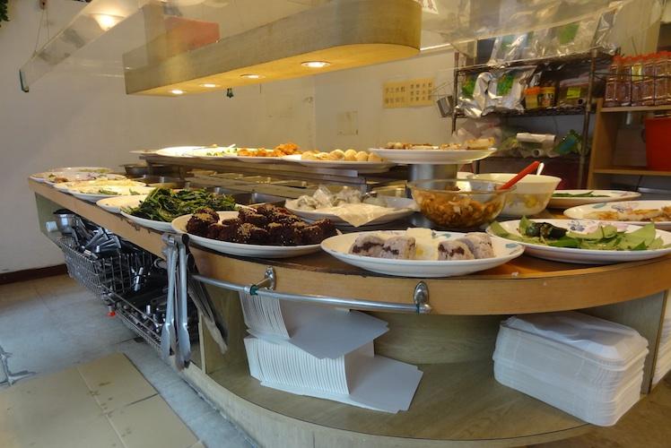 taiwan vegetarian buffet with tongs