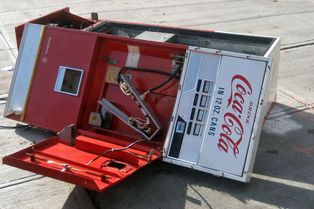 broken coke vending machine