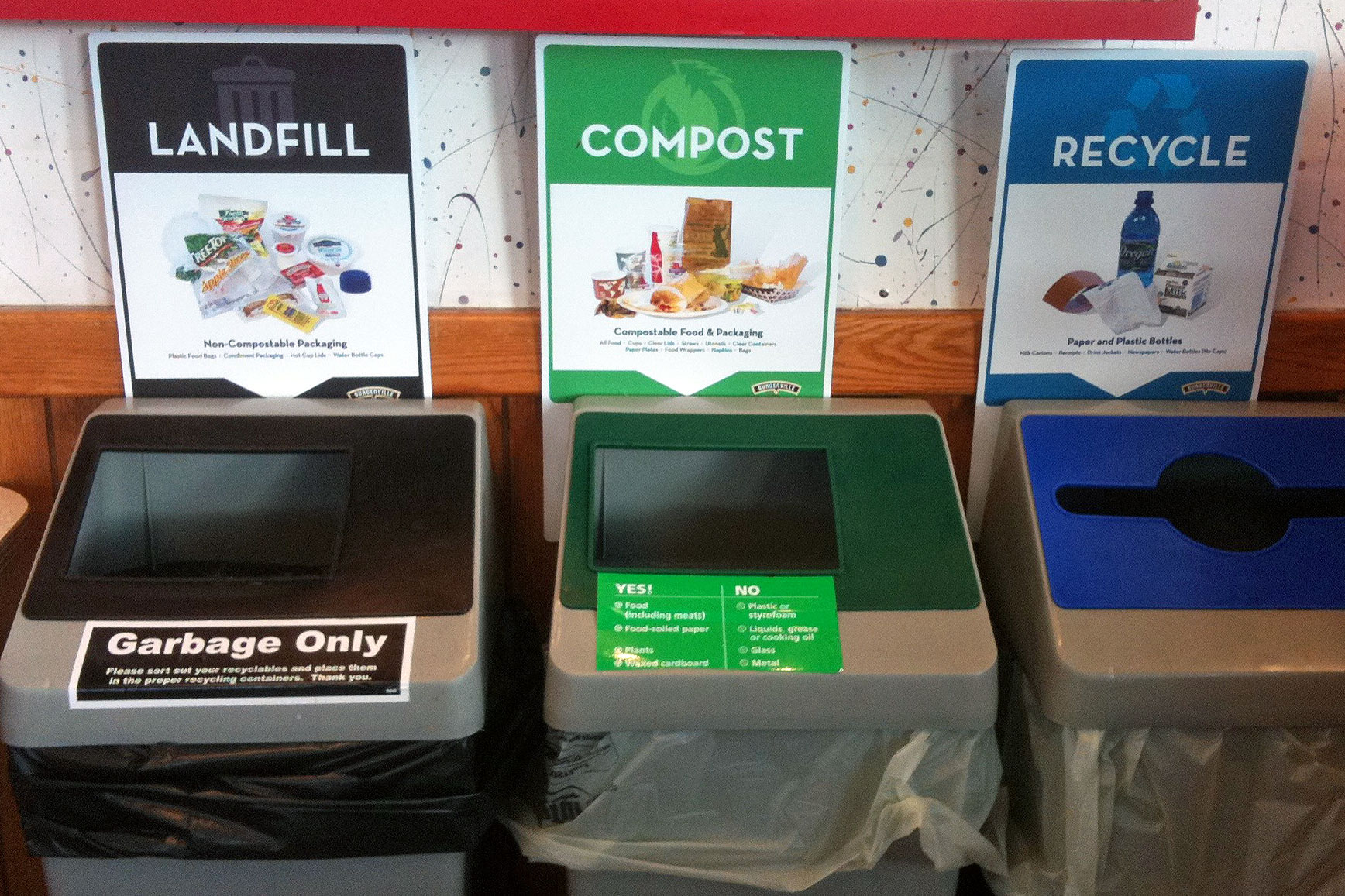landfill, compost, recycle bins
