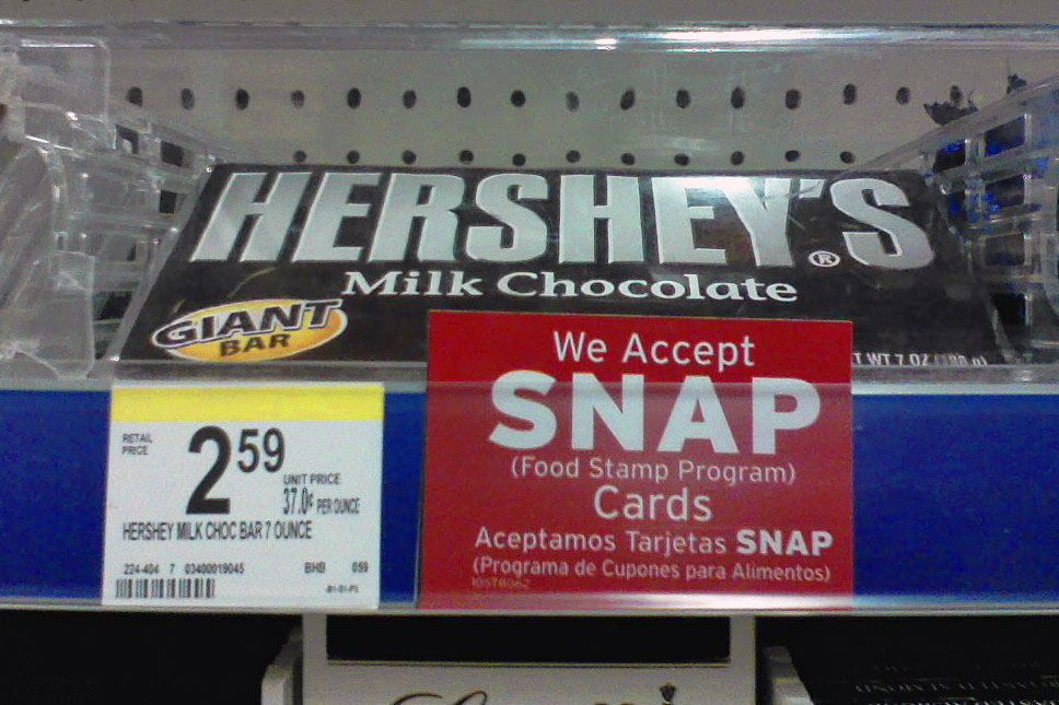 SNAP and hershey bars