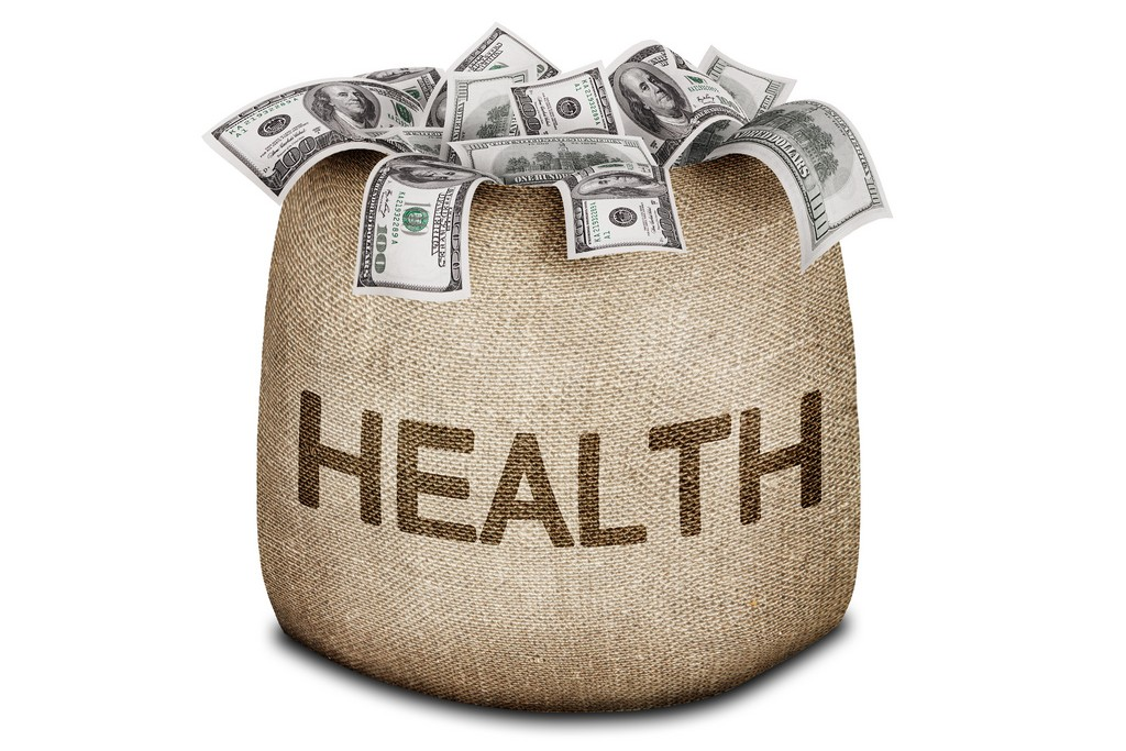 """Drawing of a bag with the word """"HEALTH"""" printed on the front. The bag is full of hundred-dollar bills."""