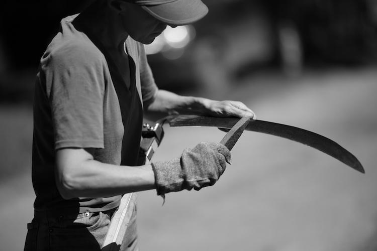 farmer sharpens scythe