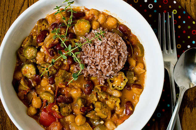 Okra Gumbo with Chickpeas & Kidney Beans