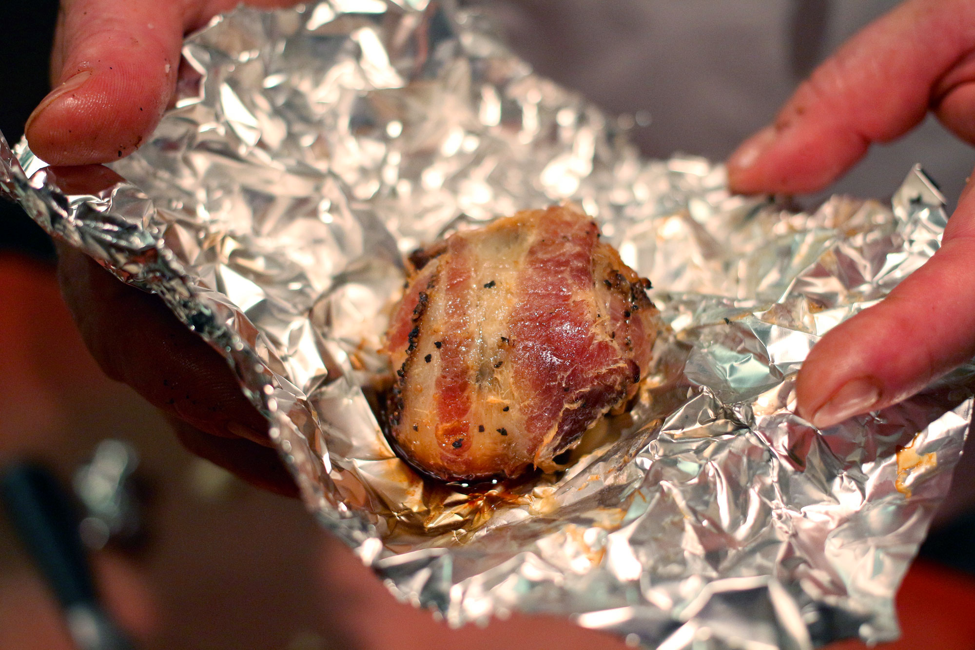bacon-wrapped garlic