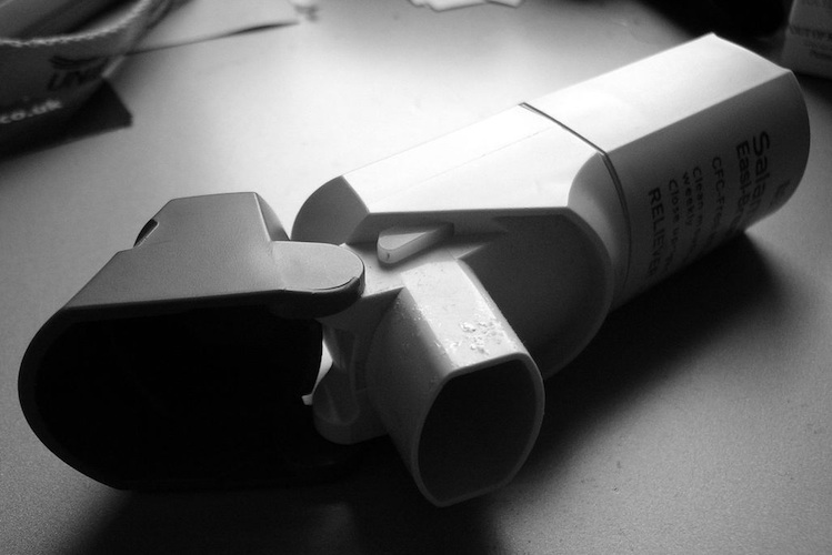black and white rescue inhaler