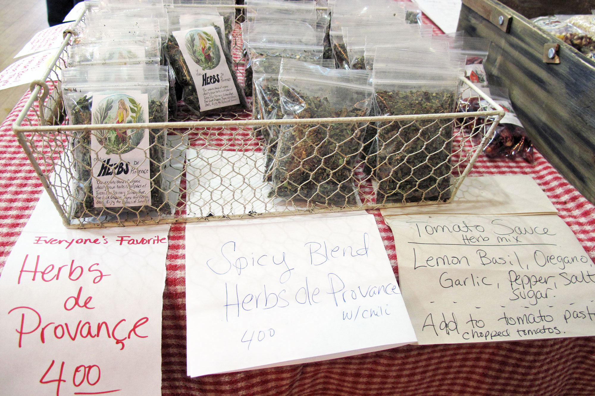 herbs packets for sale at Bloomington Winter Farmers Market